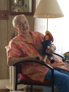 My grandma with Madeline the doll.