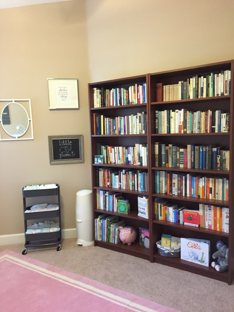 Naturally, Madelyn's room needed to have lots of books. The bottom shelves are filled with kids' books. I organized the other books accordingly. The classics, for instance, are on the middle shelf; I figured she'd be about that height once she's ready to read them.
