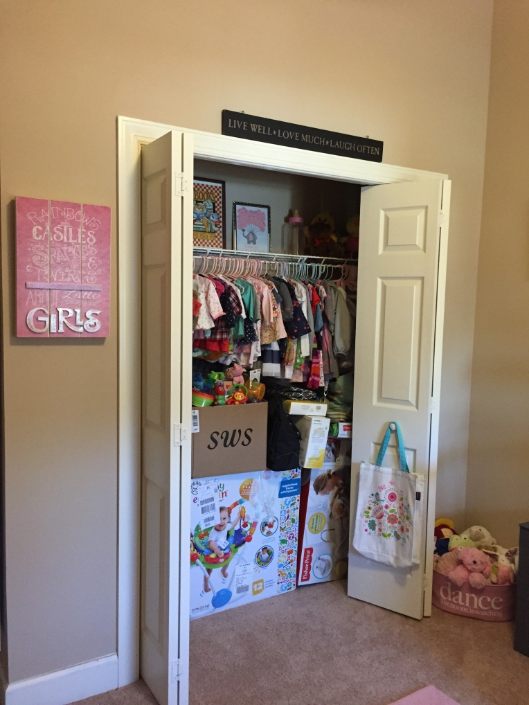 There are lots of toys we still need to put together. They're in the closet for now, along with Madelyn's adorable clothes.