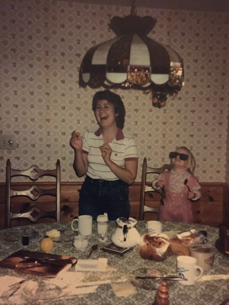 My dad recently sent me this photo, which I had never seen before. It was taken at my Gramz's house in the late 80s. I love how playful my mom and I look.