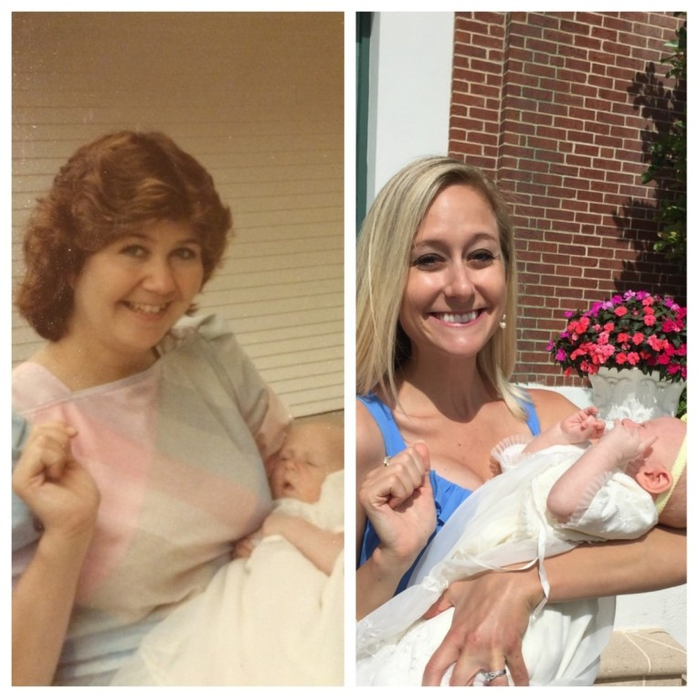 My mom holding me on the day I was baptized, and me holding Madelyn the day she was baptized. Madelyn wore the same baptism dress that I wore 30 years ago.