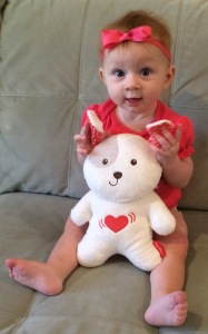 This Fisher-Price bear, which makes music and vibrates, is soothing for both Madelyn and mom!